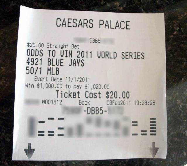 Blue Jays bet to win 2011 World Series