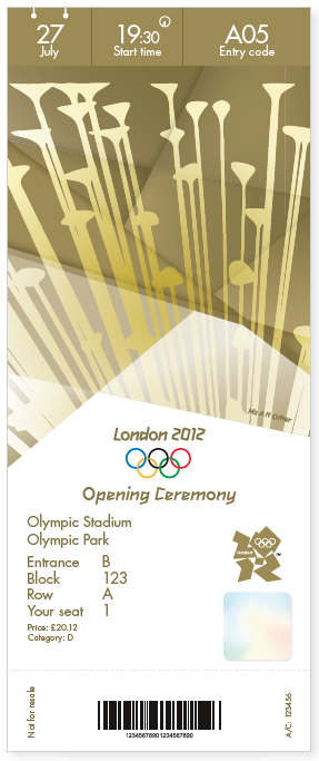 London 2012 Olympics Opening Ceremony Ticket Design